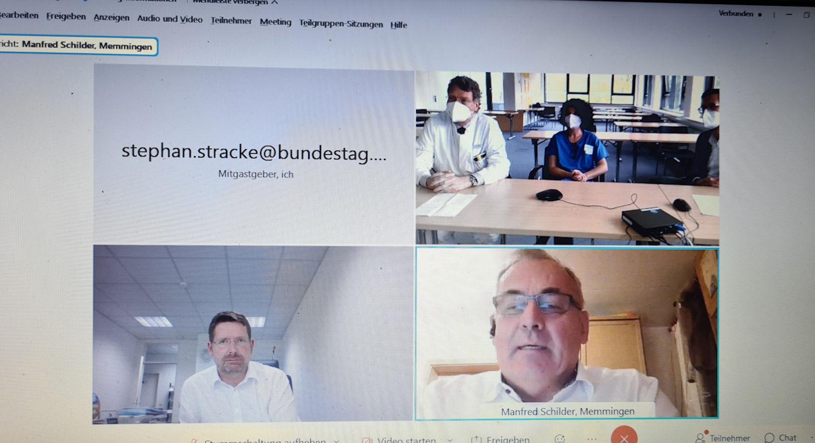 Über die Situation im Klinikum Memmingen tauschten sich Stephan Stracke und OB Manfred Schilder mit Vertretern des Klinikums aus.