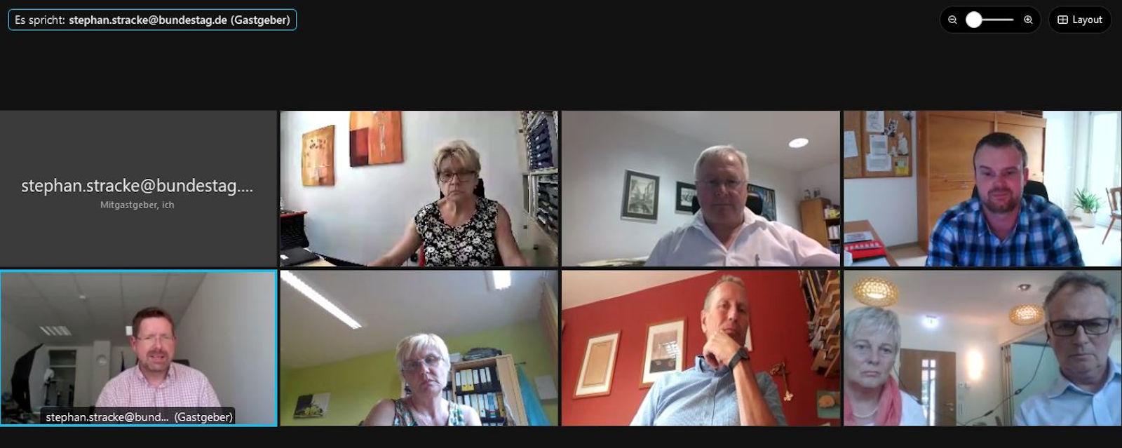 In zwei virtuellen Gesprächsrunden tauschte sich Stephan Stracke mit Pflegeeinrichtungen aus.