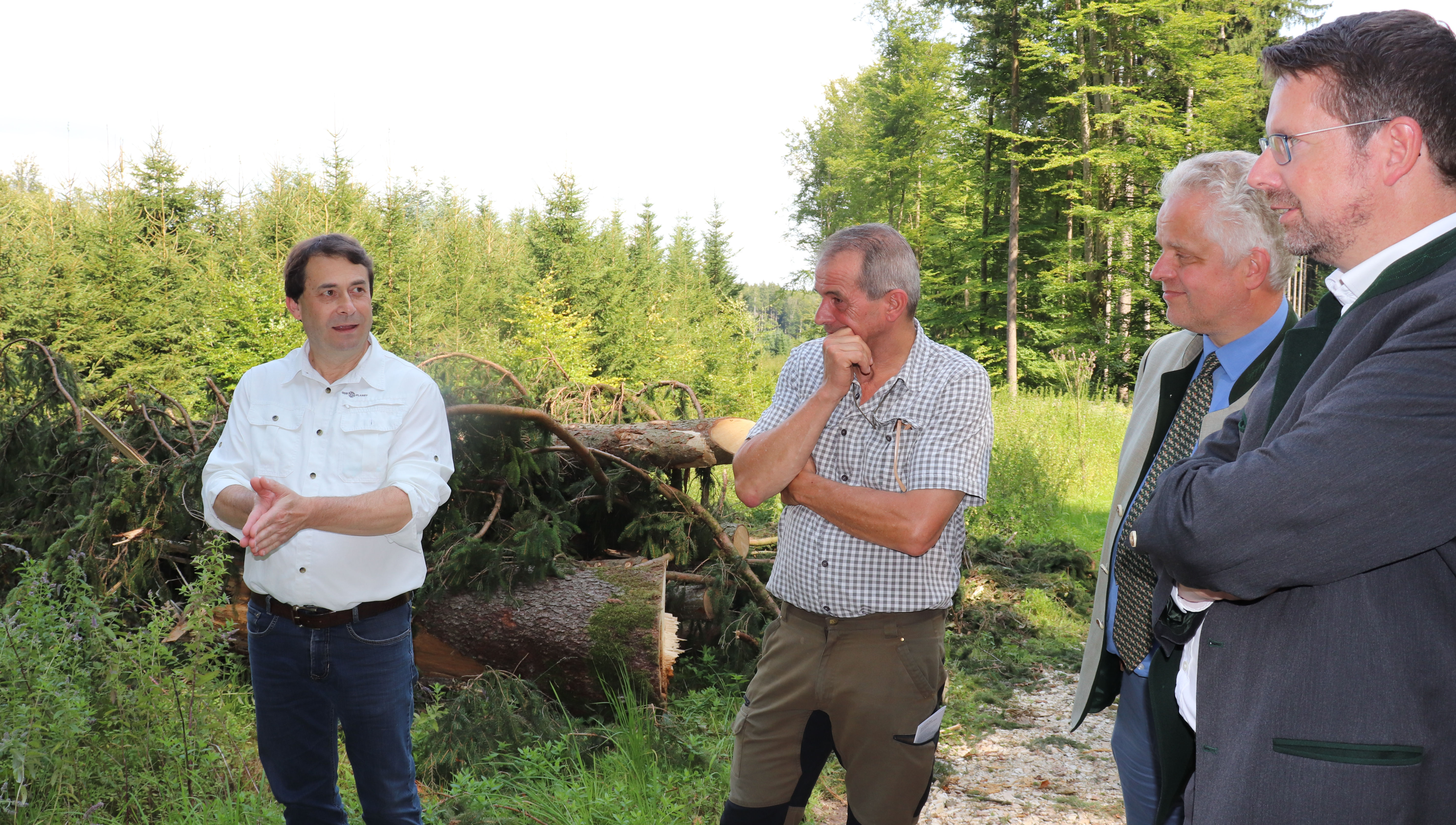Stephan Stracke im Gespräch mit Ulrich Graf Fugger von Glött, dem Betriebsleiter Land und Forst der Fugger Günter Winkler und dem Bayerischen Waldpräsidenten Josef Ziegler (von rechts nach links).